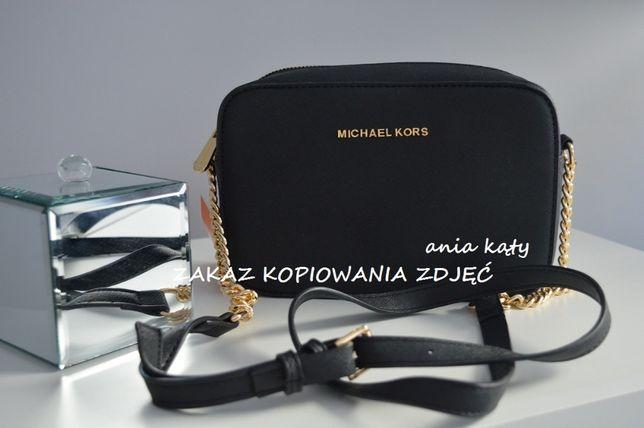 Czarna torebka Michael Kors Jet set Travel MINI MAŁA Z ŁAŃCUSZKIEM