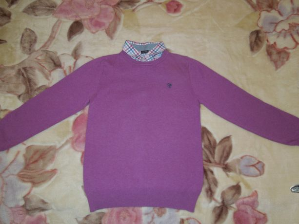 Свитер детский NEXT/EST.82. вставка воротник рубашки.