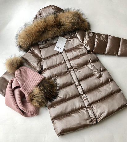 Зимнее пальто куртка, пуховик с натуральной опушкой Lie bei LB