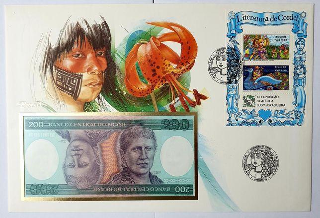 Banknot BRAZYLIA UNC w liście numizmatycznym