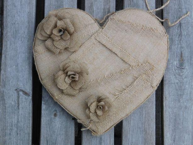 kwiatki, serca, ozdoby z juty