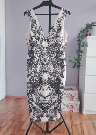 lipsy london sukienka beżowa czarna wzór lato wesele komunia hit 36 38