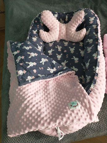 Zestaw kokon niemowlęcy rożek-becik poduszka-motylek kocyk-kołderka