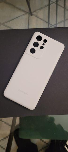 Capa original Silicone Cinzento claro Galaxy S21 Ultra 5G