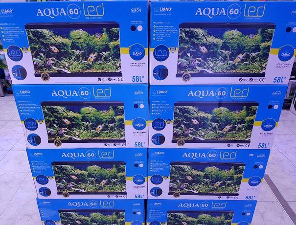 Aquario Aqua 60 led ciano novo