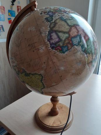 Duży globus podświetlany fizyczno polityczny