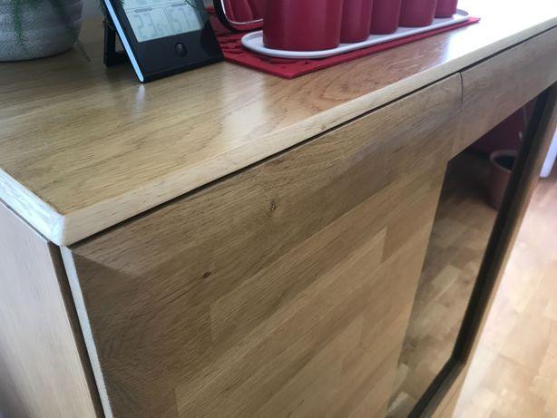 Witryna barek komoda dębowa drewniana lite drewno dąb nowoczesna