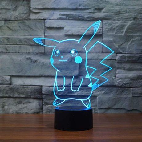 Ночник детский Покемон Пикачу настольная лампа, 7 цветов смена автомат