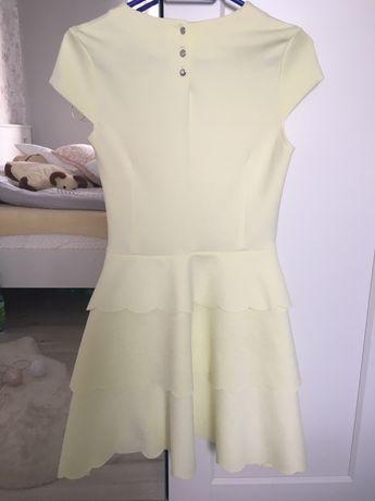 Sukienka mohito rozmiar S 36 żółta rozkloszowana, falbanki