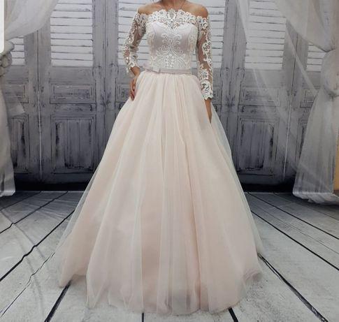 Suknia ślubna śnieżnobiała 38