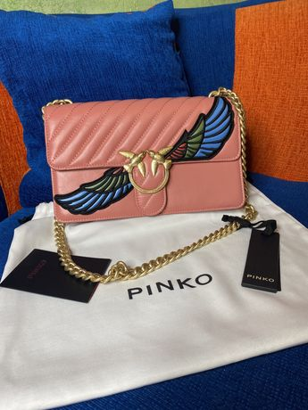 Nowa torebka pinko Love Wings pudrowy róż Classic pikowana złota oryg