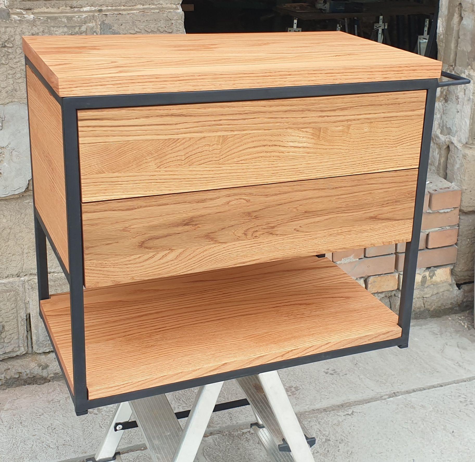 Wisząca szafka lazienkowa pod umywalkę.Drewno dębowe. Dwie szuflady.