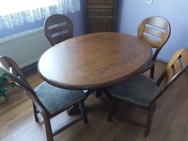 Stół dębowy owalny + 4 krzesła