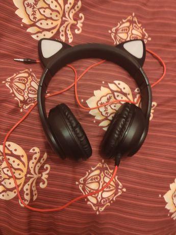 Słuchawki kocie uszy świecące tęczowe otaku lgbt gamer
