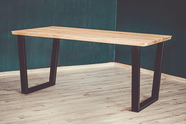 Stół Loft - blat lite drewno akacjowe jasne Meble loftowe