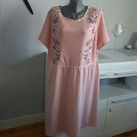 Sukienka MIDI Pudrowy róż 52 XXL XXXL Plus Size