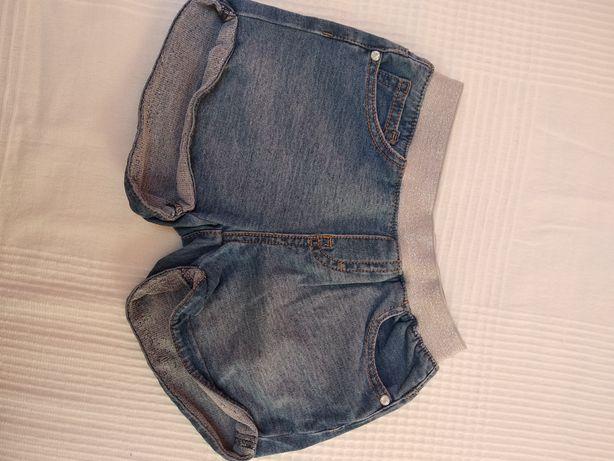 Krótkie spodenki jeansowe brokatowy pasek gumka 116 cm