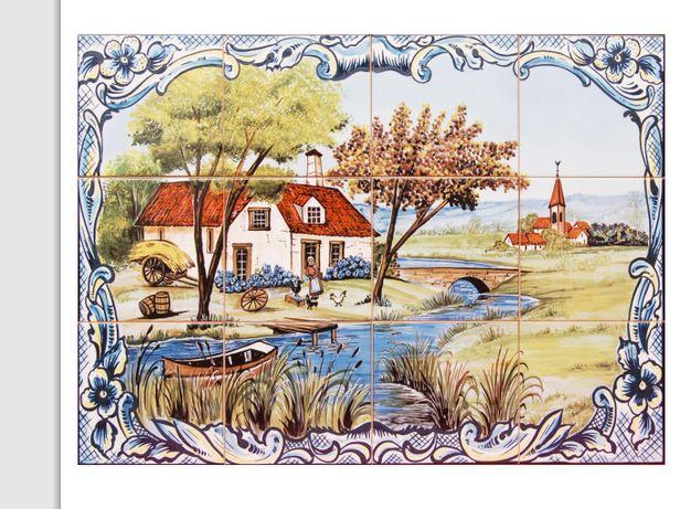 Painel de Azulejos Aldeia Paisagem Rural Vida do antigamente 60 x45 cm