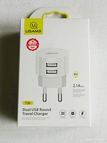 Ładowarka sieciowa - podwójne wyjście. USB 2.0, 5V - 2.1A