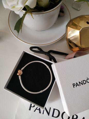 Bransoletka Pandora Moments Rose zapięcie serce jak nowa