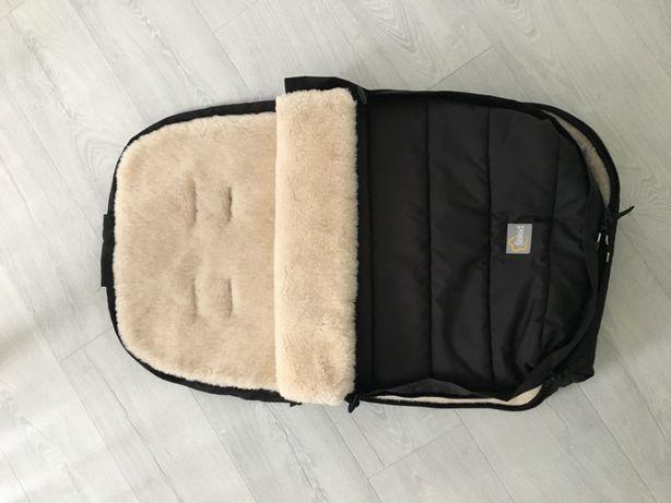FILLIKID Śpiworek zimowy do wózka z wełny owczej kolor czarny