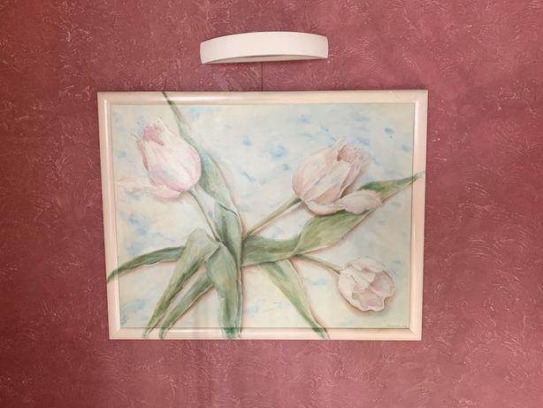 """Faustyna Kajka Pyś 2004 obraz olejny na płótnie """"Tulipany"""" 130x100 duż"""