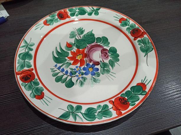 GRANIT patera/talerz na ścianę, kwiaty, folk,Węgry(