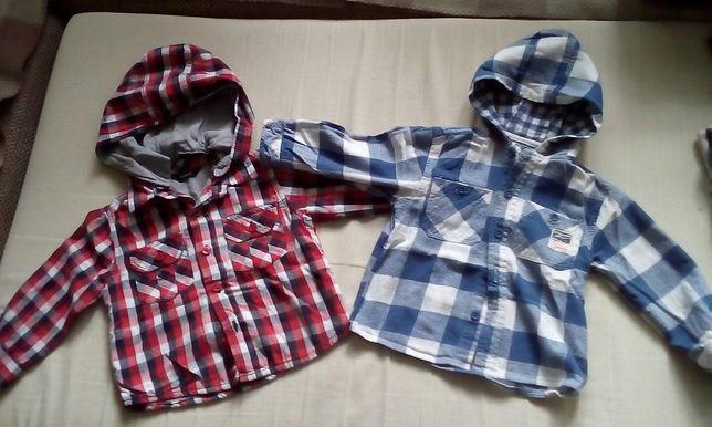 2 grubsze koszule w kratkę r.80