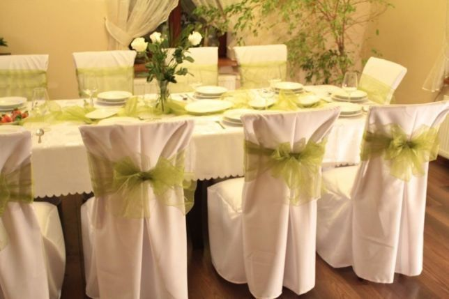 Pokrowce na krzesła Wypożyczalnia wynajem obrusów krzeseł talerzy
