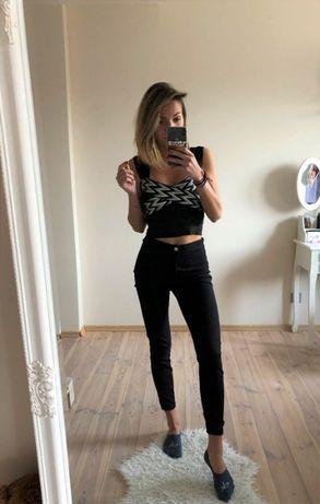 czarne spodnie jegginsy tally weijl 36 S jeansy wysoki stan high waist