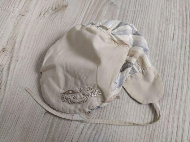 Czapka kaszkiet niemowlęca chłopięca wiązana letnia rozm. 46