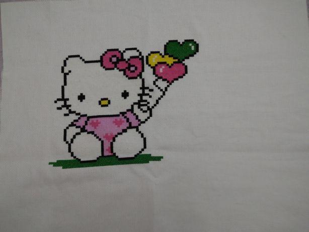 Pano em ponto cruz da hello Kitty