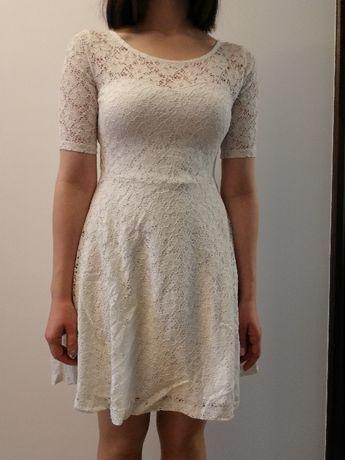 Sukienka koronkowa, damska, biala rozmiar s