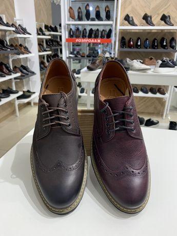 Броги мужские кожаные туфли черные коричневые синие вишневые 39-46