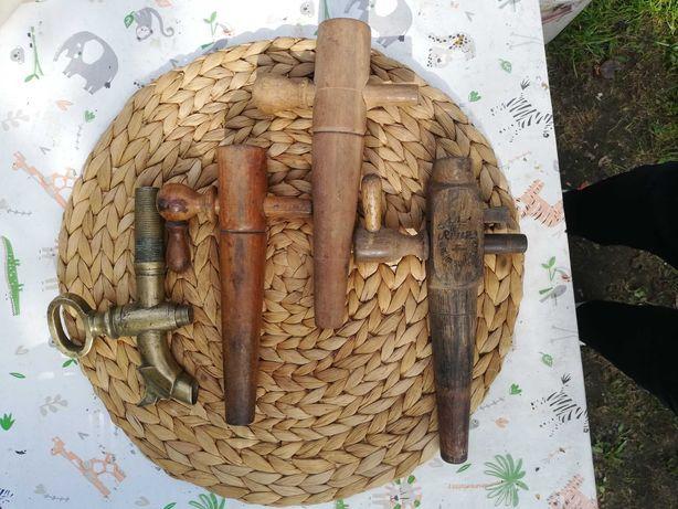 Kran czop zawór do beczki wina mosiężny oraz drewniany