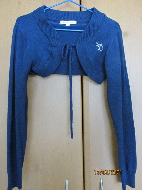 Болеро з довгим рукавом темно-синього кольору для дівчинки