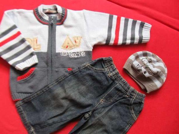 Komplet spodnie jeans/dżins, sweterek + czapka, rozm. 80