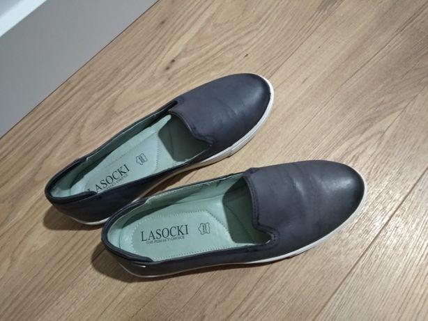 Lasocki buty damskie skórzane tenisówki mokasyny