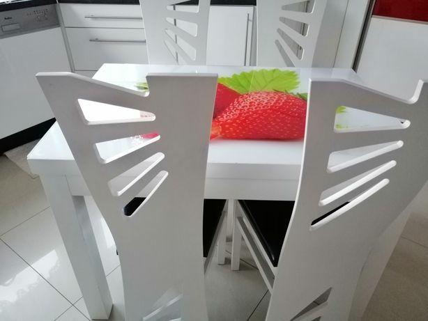 Stół i krzesła BIAŁE KUCHNIA