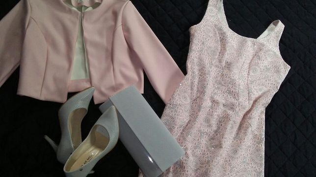Sukienka, bolerko, szpilki, torebka POLSKIE 36