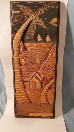 Quadro africano em madeira esculpida