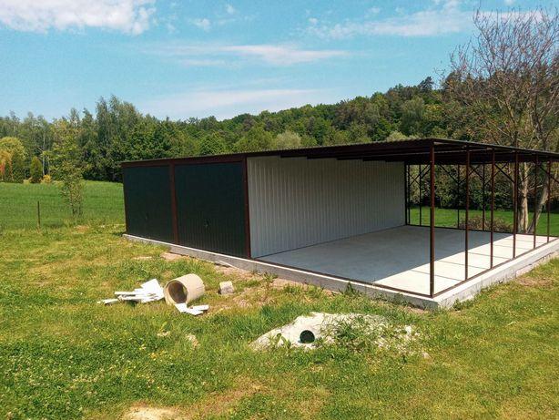 Garaż Blaszany 6x5 + wiata 3m