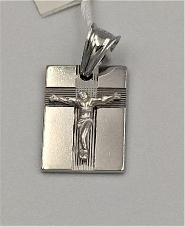 Krzyżyk srebrny zawieszka Pan Jezus rodowany ASG-1