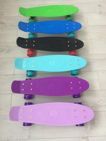 Пенни борд penny board со светящимися колесами пени скейт скейтборд