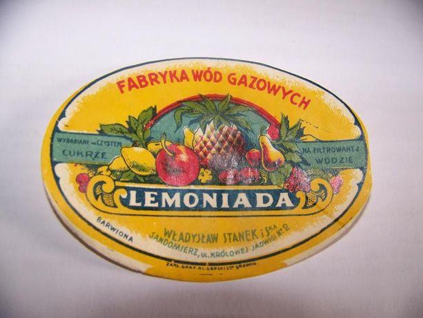 etykieta lemoniady rok 1936