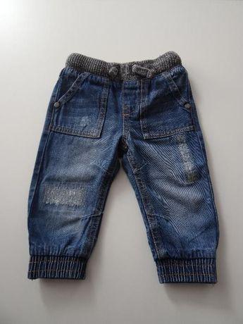 spodnia dżinsowe ze ściagaczami F&F 9-12 misięcy 80 cm.