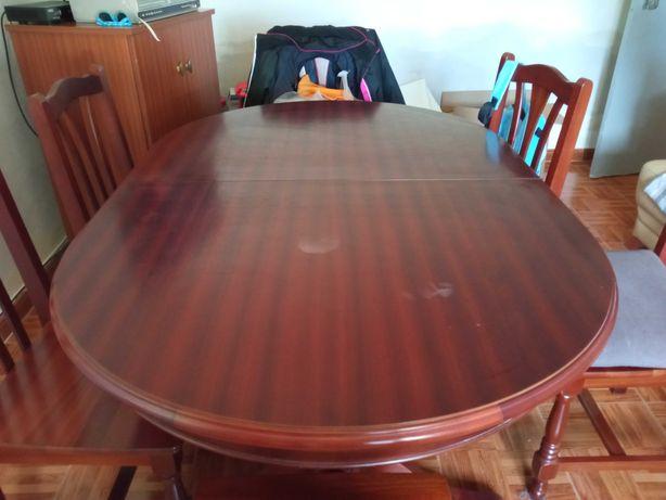 Mesa oval + 6 cadeiras  - madeira maciça cerejeira
