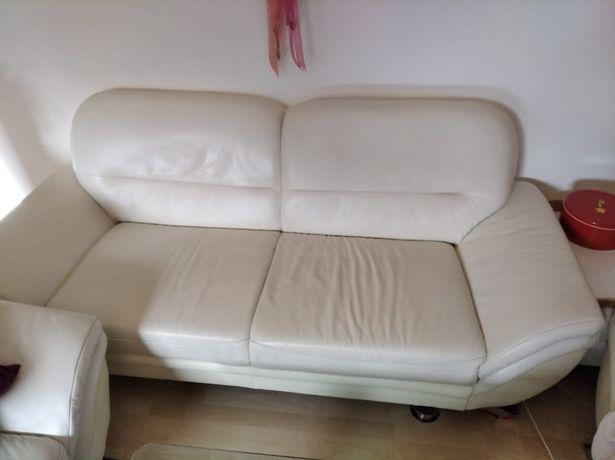 Sofa skóra ecru 2 osobowa kanapa skórzana 170cm