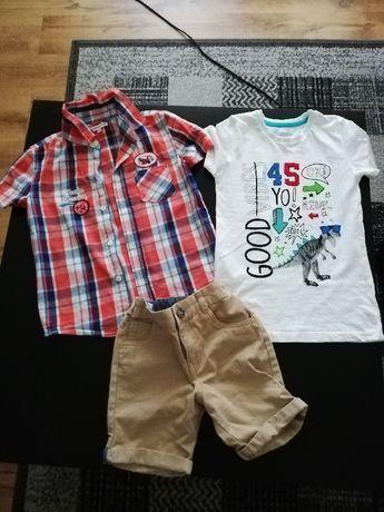 Sprzedam komplet koszula spodenki i koszulka rozmiar 122/128