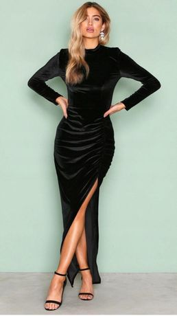 Sukieka suknia wieczorowa czarna maxi welur aksamit nowa z metką S 36